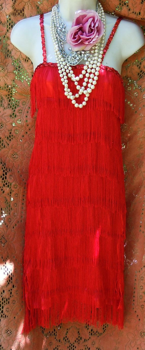 Red flapper dress fringe 1920s Gatsby cocktail by vintageopulence, $85.00 It's not even too short....so pretty.... :)