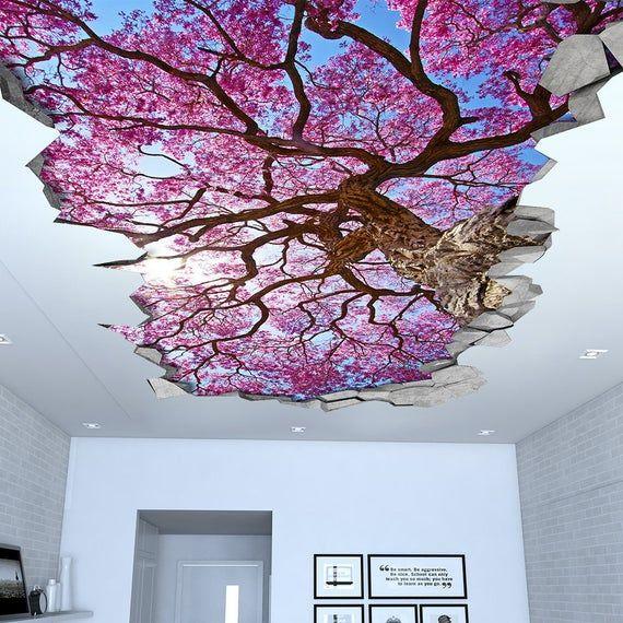 Sakura Cherry Tree Ceiling 3d Wallpaper 3d Wall Decals Etsy In 2020 3d Wall Art 3d Wall Decals 3d Wallpaper