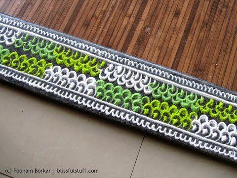 Multicolored border rangoli using fork and cotton bud | Innovative rangoli…