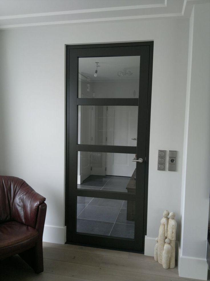 Afbeeldingsresultaat voor stalen deurkozijn opdekdeur zwart