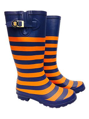 Preppy Syracuse University Orange and Navy Striped Rain Boots from SU Bookstore online #PreppySyracuse