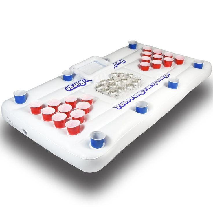 GoPong Pool Party Barge Floating Beer Pong Table Built in Cooler White 6ft PB-01 #GoPong