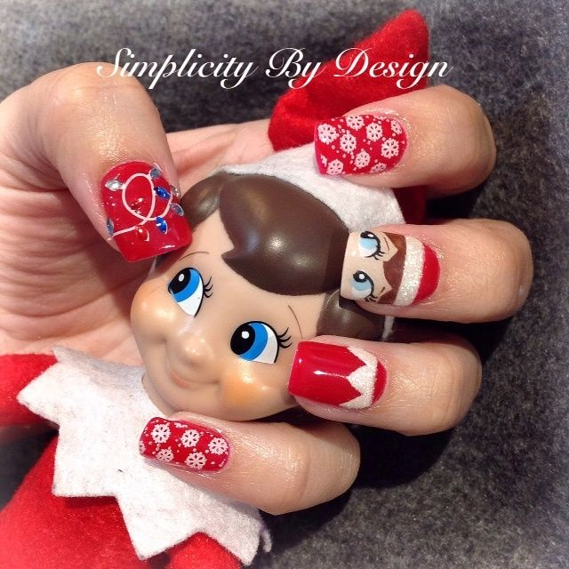 Day 339 Elf On The Shelf Nail Art Xmas Nail Designs Holiday Nails Diy Nails For Kids