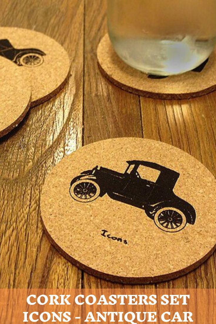 Cork Coasters Set Icons Antique Car in 2020 Car