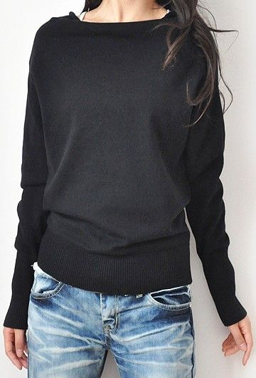 Black Boat Neck Long Sleeve Batwing Pullovers Sweater - Fashion Clothing, Latest Street Fashion At Abaday.com