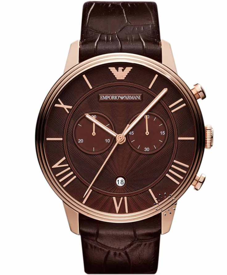 Emporio Armani Classic Brown Leather Strap, 369€ http://www.oroloi.gr/product_info.php?products_id=30878