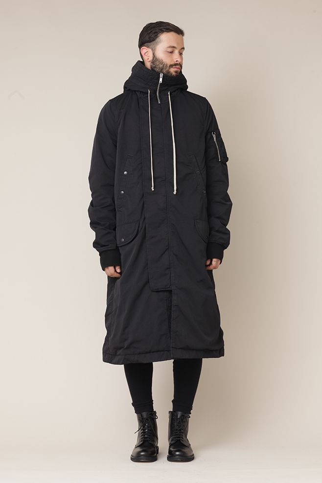 Rick Owens D RK SH D W  Long Hooded Bomber (Black)