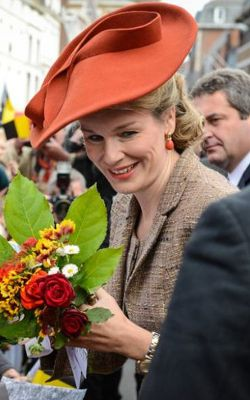 Queen Mathilde, October 2, 2013 in Fabienne Delvigne | The Royal Hats Blog