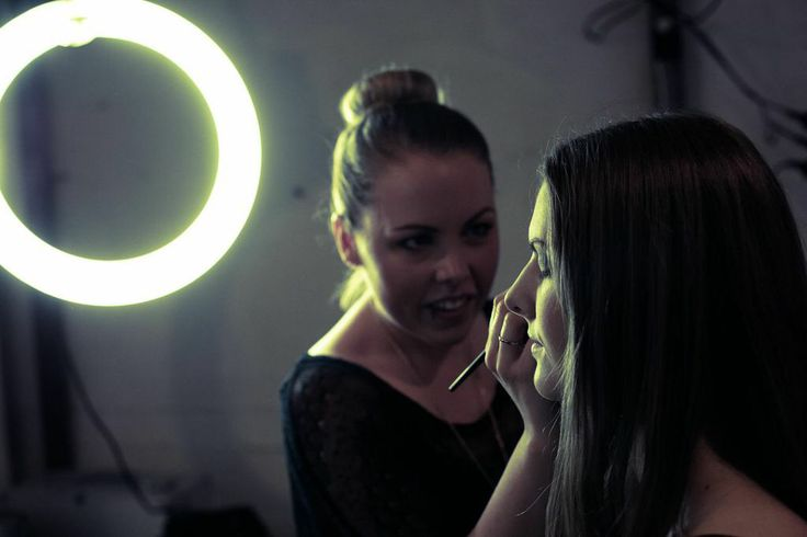Behind the scenes one photo shoot fixing makeup