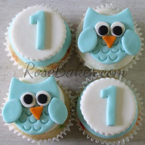 Boy 1st Birthday : Standing Owl Cake, Smash Cake, and Owl Cupcakes!!  #cupcakes  #owl