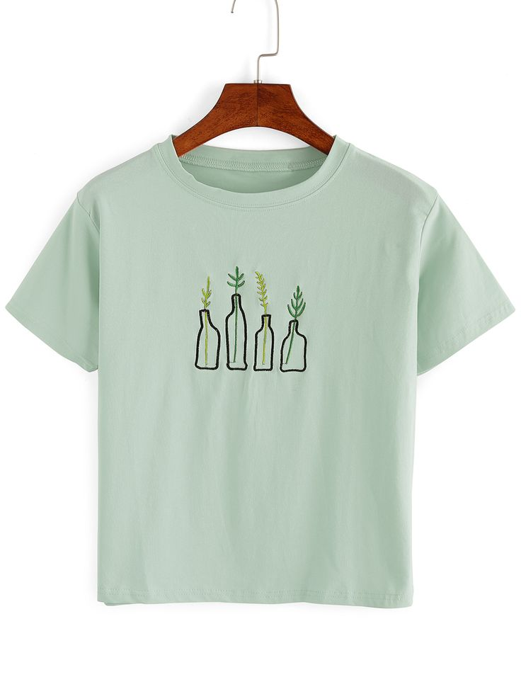 Shop Green Plant Embroidered T-Shirt online. SheIn offers Green Plant Embroidered T-Shirt & more to fit your fashionable needs.
