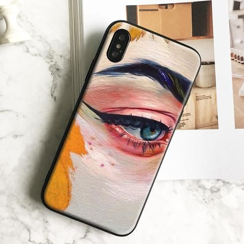 Oil painting eyes Art aesthetic TPU soft silicone Phone Case cover Shell For iPhone 5 5s Se 6 6s 7 8 Plus X XR XS MAX