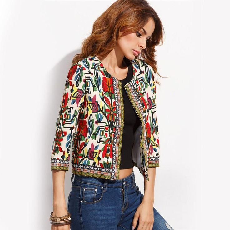 Embroidery Tribal Print Long Sleeve Jacket