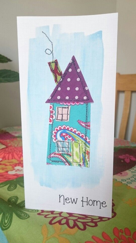 Handmade applique fabric card. New Home