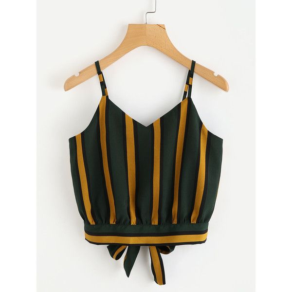 Striped Split Tie Back Crop Cami Top ($7.99) ❤ liked on Polyvore featuring tops, multicolor, v neck camisole, spaghetti strap crop top, stripe tank top, cami tank top and cropped tank top