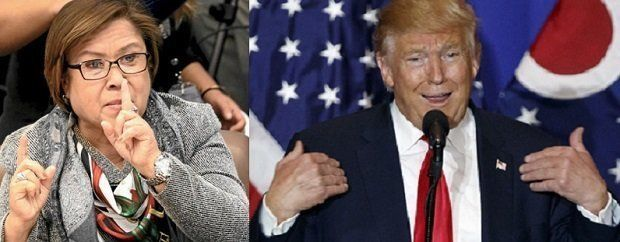 Senator Leila de Lima (left) on Wednesday, Nov. 9, 2016, expressed hope that Democratic candidate would win the US presidential elections saying a 'Trump' (right) in the Philippines was enough. The senator was taking a swipe at President Rodrigo Duterte, whom she claimed was as a misogynist like Republican candidate Donald Trump (right). INQUIRER FILE / INQUIRER WIRESSenator Leila de Lima on Tuesday took a swipe at President Duterte as she expressed reservations on a possible presidency of…