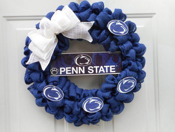 Penn State Wreath Nittany Lion Wreath Burlap by ChloesCraftCloset