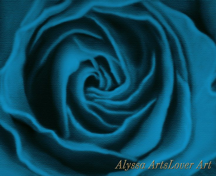 Rose digital painting blue edition