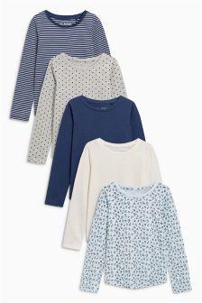 Pachet de cinci tricouri albastre cu mânecă lungă (3-16ani)