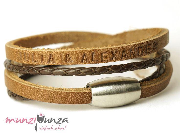 Armbänder - Namensarmband  LEDER Magnetverschluss Art. 177b - ein Designerstück von munzipunza bei DaWanda