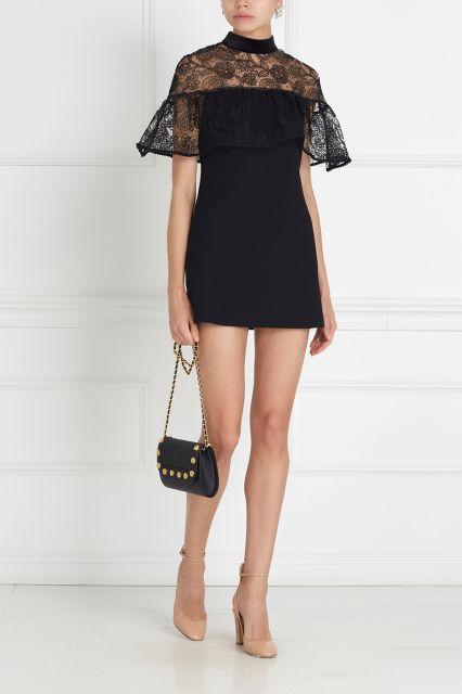Платье с кружевом Self-Portrait - Черное платье-мини из колелкции бренда Self-Portrait в интернет-магазине модной дизайнерской и брендовой одежды