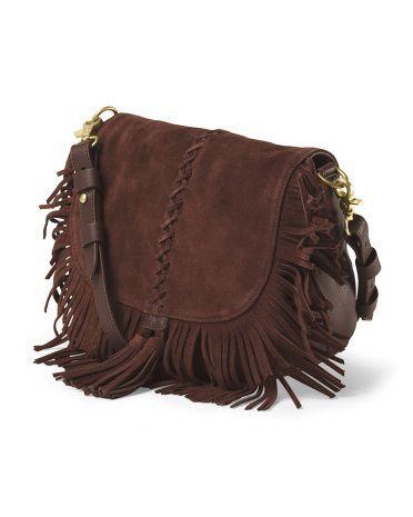 Suede Crossbody Saddle Bag By Minnetonka Leatherhandbagscrossbody