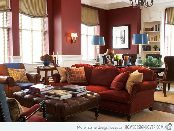 I'm not a fan of the blue accents BUT! A maroon living room would have a very warm, comfy feel to it!!
