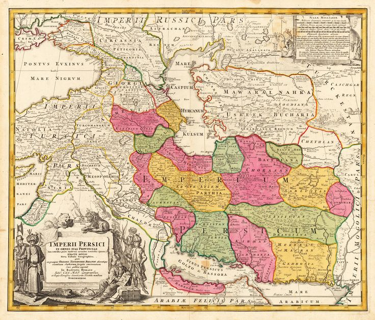 Detailed map of the Persian empire (around 1700), extending from the Black Sea, Khasikstan and Turkistan in the North to the Red Sea, Persian Gulf, Euphrates and the Mediterranean in the South, showing a part of Cyprus