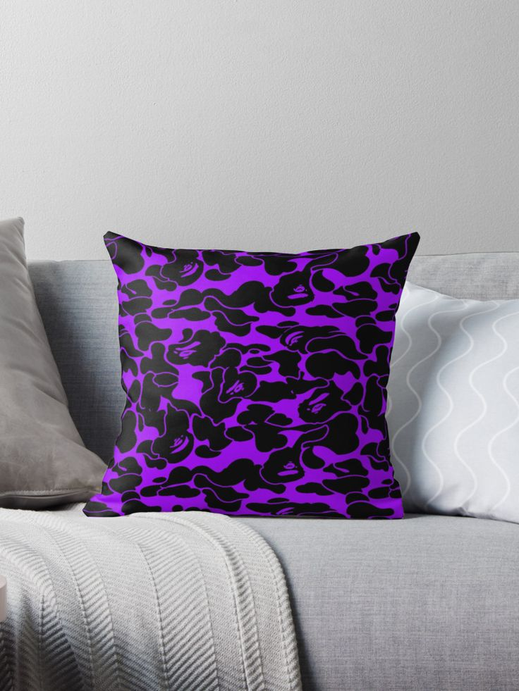 """camo purple"" Throw Pillows by destroyergucci 
