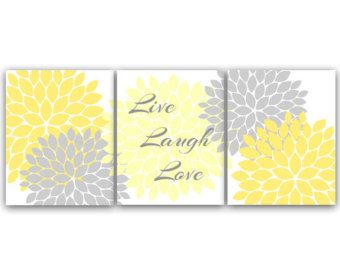 Home Decor Wall Art, Live Laugh Love, Yellow and Gray Wall Art, Flower Burst Bathroom Wall Decor, Yellow Bedroom Decor - HOME29