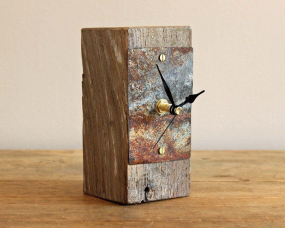 Small desk clock salvaged oak and rusty beach by ReclaimedTime