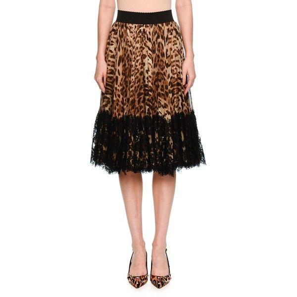 Dolce & Gabbana Lace-Hem Pleated Leopard-Print Skirt ($2,395) ❤ liked
