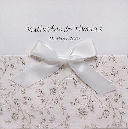 Glitter Paper with Bow Wedding Invitation. The glitter paper is available in 10+ colours. www.kardella.com