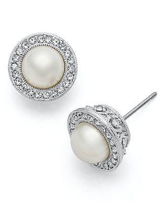 Eliot Danori Earrings, Framed Simulated Pearl Stud Earrings