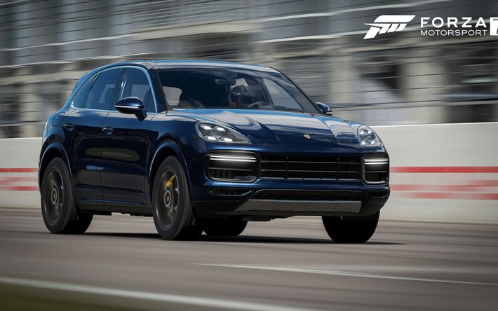 Download wallpapers Forza Motorsport 7, Porsche Cayenne Turbo, sporty suv, racing simulator, new games