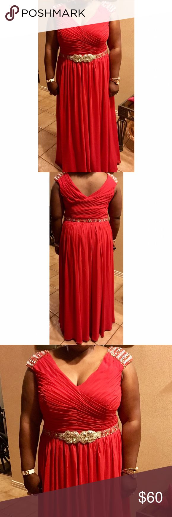 """A line chiffon gown with crystals and beading Red Ruched bodice V back 40"""" waist  60"""" shoulder to hem   Formal gown Black tie  Prom dress  Special occasion dress    Worn 2x  No rips, stains, snags, the dress is in great shape     ***MAKE AN OFFER*** Dresses Prom"""