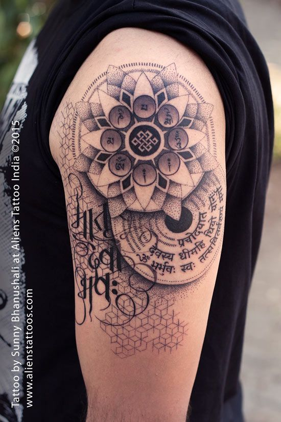 Dotwork Mandala Tattoo by Sunny Bhanushali at Aliens Tattoo India. Client walked in to get a tattoo of 3 scripts, Matru Devo Bhava, Gayatri Mantra and Om Mani Padme Hum. Client dedicated this tattoo to his mother. He liked my work on dotwork tattoos and gave me designing freedom to work on this tattoo. Took around 16 hours to design this mandala themed tattoo. Client loved the design and here is the output. Share it if you like it :)