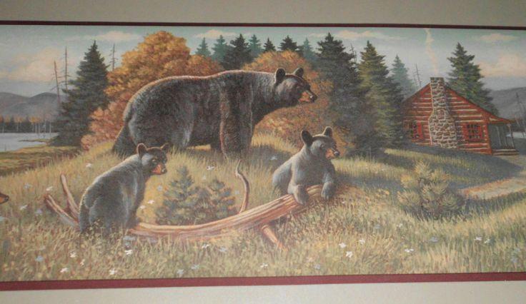 "Northwoods Cabin Black Bear Wallpaper Border 15' x 9"" NEW"