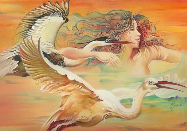 """""""Dancing With Birds"""", Painting - Oil On Canvas by Anna Miarczynska"""