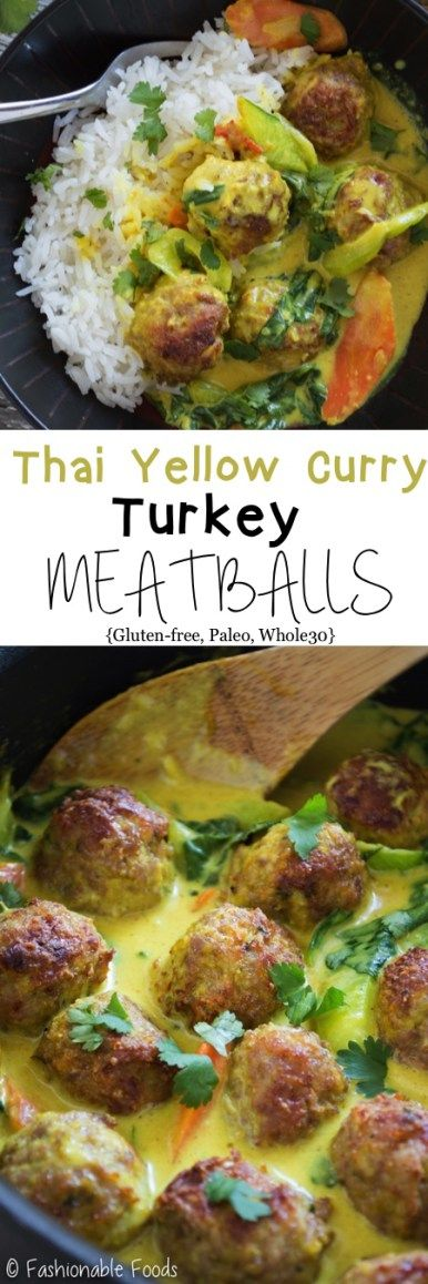 Tender turkey meatballs take on Thai flavors! These Thai yellow curry turkey meatballs are broiled until golden and smothered in curry sauce and vegetables. Serve over cauliflower rice for a tasty Paleo or Whole30 meal!
