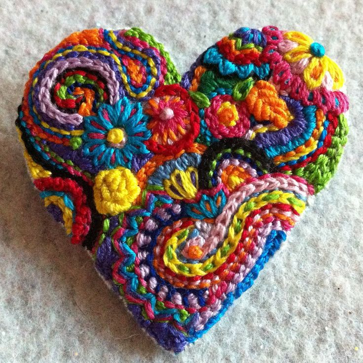Freeform embroidery bright floral heart brooch.