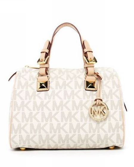 Michael Kors Grayson Signature Pvc Medium Satchel Vanilla Model Mk Satchels 071
