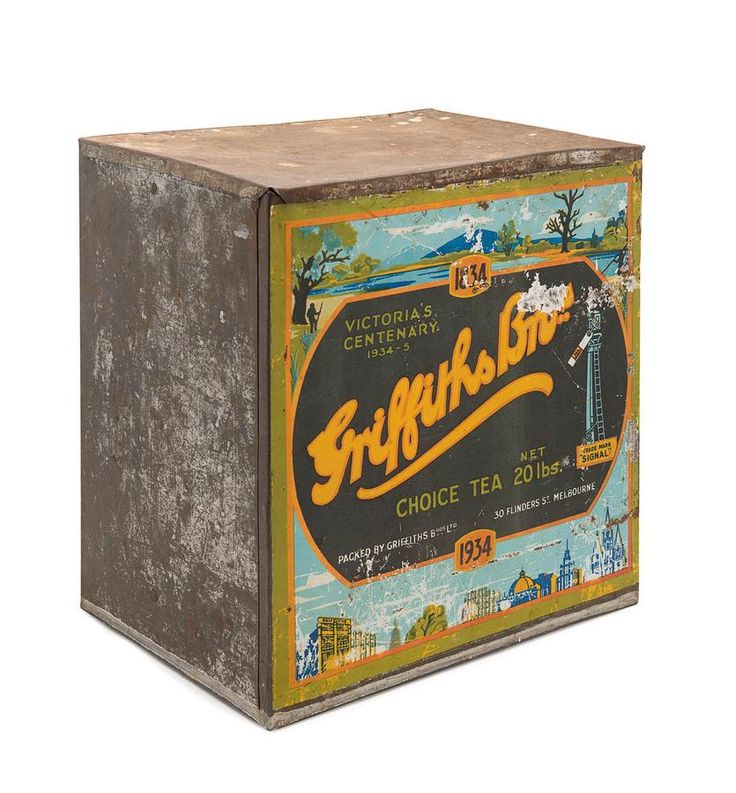 large Griffiths Bros. Choice Tea tin or grocery store bin ... 'Victoria's Centenary 1834-1934' lettering and before & after view of Melbourne skyline, 1934, litho tin, Australia