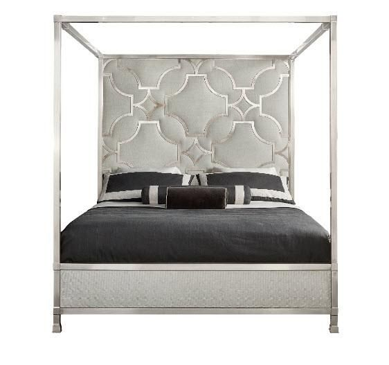 Domaine Blanc Upholstered Metal Canopy King Bed Bernhardt
