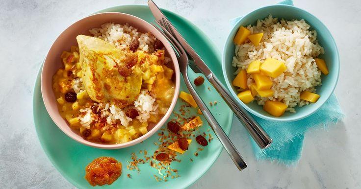 Kylling i karry er en dejlig mild og børnevenlig ret med æbler. Server evt. med frisk mango, rosiner og kokos.