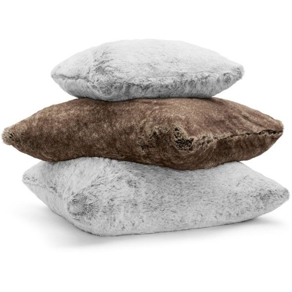 Hudson Park Frosted Faux Fur Floor Cushion - 100% Exclusive ($160) ❤ liked on Polyvore featuring home, home decor, throw pillows, arctic grey, faux fur throw pillow, grey accent pillows, gray home decor, hudson park and gray throw pillows