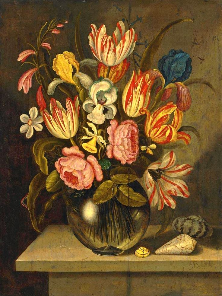 Abraham Bosschaert (1612-1643) —   A Still Life of Tulips, Roses, Irises and Daffodils in a Glass Vase,  1630-1639 (825x1100)
