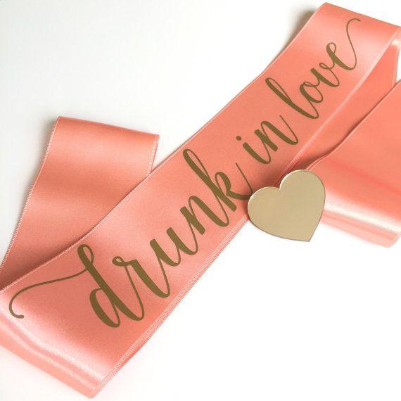 Bachelorette sash, coral hen sash, drunk in love, gold and coral sash, bachelorette sash with gold mirror heart pin