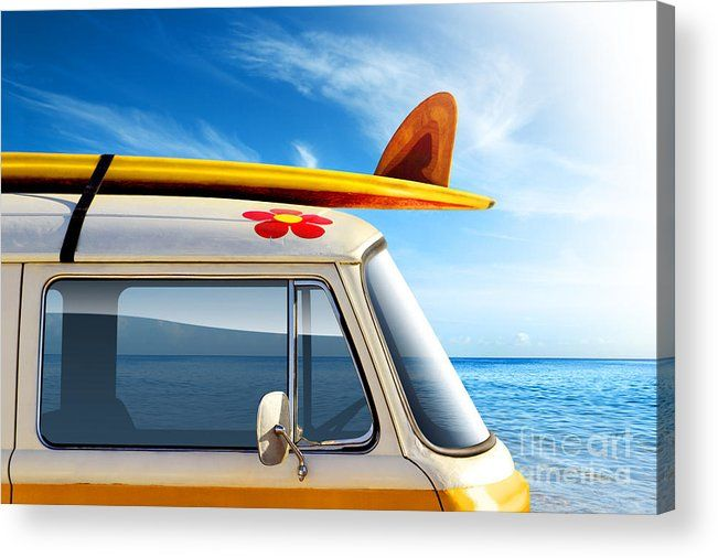 60ties Acrylic Print featuring the photograph Surf Van by Carlos Caetano