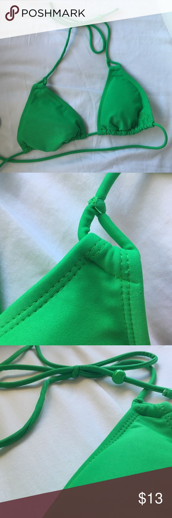 Green triangle bikini top New, never worn, no sign of use. Tie top, adjustable!  JUST THE TOP. Tagged brands for exposure Frankie's Bikinis Swim Bikinis